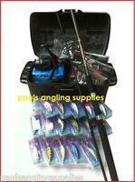 Complete Spin Fishing Kit Set Tackle Seat Box,rod,reel Lures.forcepstracesplugs