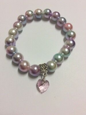 "z2552 2row 8/"" 9mm round multicolour freshwater pearl bracelet"