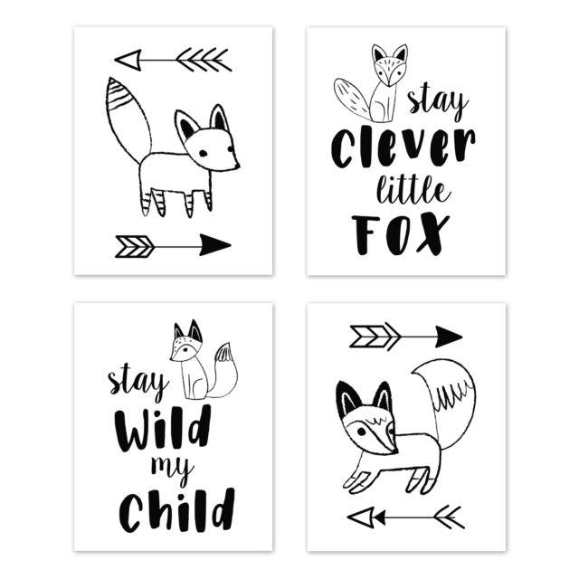 Black And White Fox 4p Baby Nursery Wall Art Prints Room Decor By Sweet Jojo