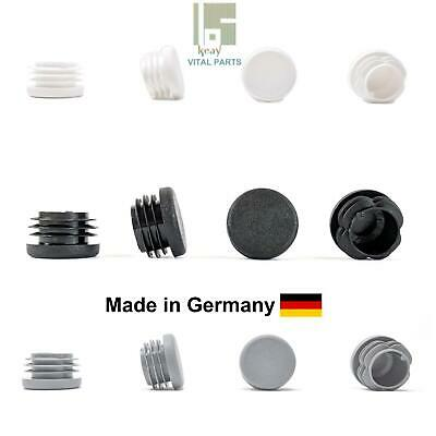 Made in Germany 27mm Round Tube Inserts Blanking End Edge Caps WHITE or BLACK