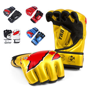 MMA-UFC-Sparring-Grappling-Boxing-Gloves-Fight-Punch-Mitts-Leather-Training
