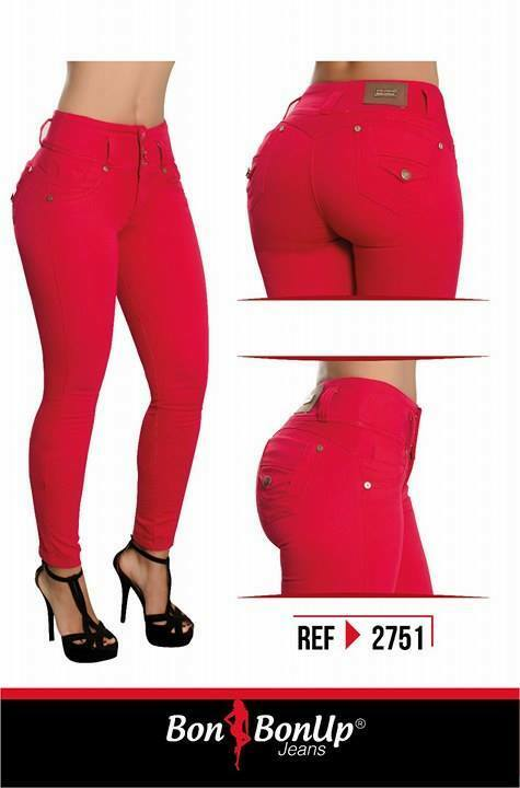 BUTT ENHANCING COLOMBIAN SKINNY JEANS IN RED COLOR BY BON BON UP