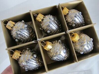 6x Silver Gold Glittery Small Pearl Glass Christmas Ornaments Mouth Blown Poland Ebay