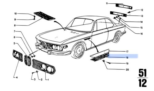 BMW E9 Set Of Black Sidewall Grilles L/&R 51131827277 /& 51131827278 Fender Grill