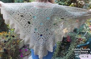Glorieux Chale Crochet Main S .raisonnier Artisanat Francais Belle Camel
