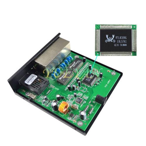 10//100M Fiber Optic Media Converter Singlemode SC 8 RJ45 Port Up to 25km