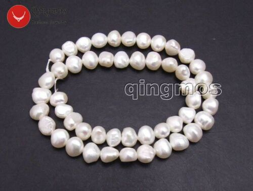8-9mm White Baroque Natural Pearl Loose Beads for Jewelry Making DIY Strand 14/'/'