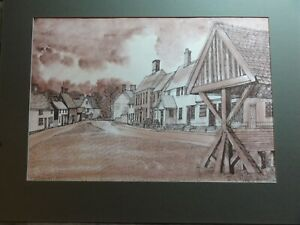 Original-Watercolour-Ink-painting-of-Hoxne-Low-Street-Suffolk-signed