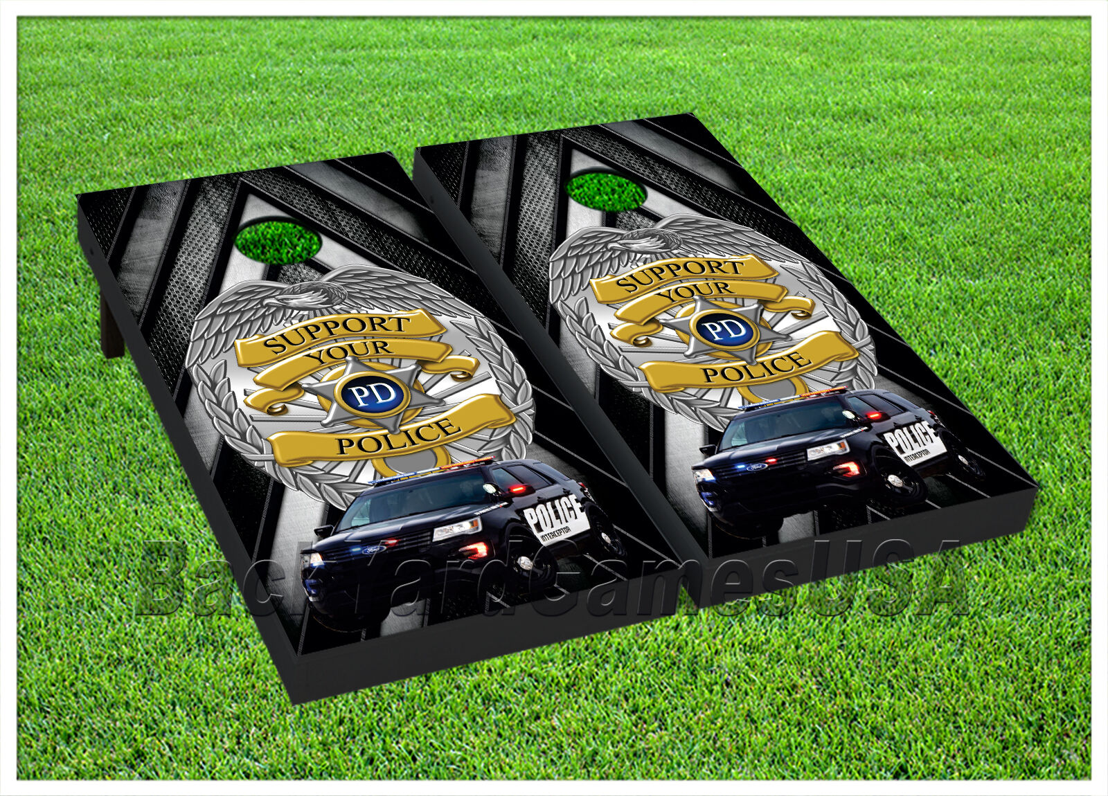 SUPPORT LOCAL  POLICE Cornhole BOARDS POLICE BEANBAG TOSS GAME w Bags Set 1401  fitness retailer