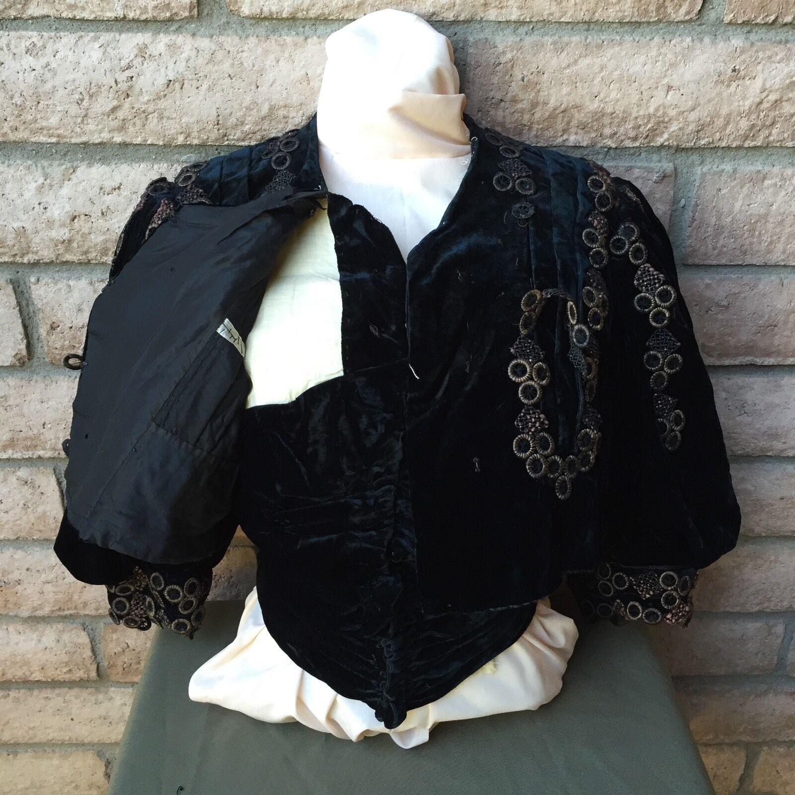 Antique 1890s Victorian Shirt Bodice Midnight Blu… - image 6