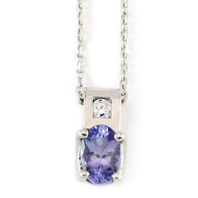 14kt White Gold 6//4mm Oval Tanzanite Pendant A