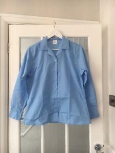 John Lewis Girls Long Sleeve Blue School Open Collar Shirt Brand New RRP £15
