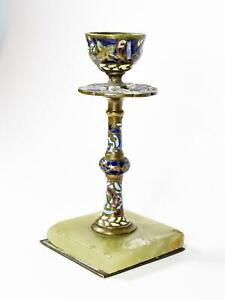 Antique Br Enamel Candle Holder