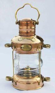 Antique-Anchor-Oil-Lamp-Brass-amp-Copper-Nautical-Maritime-Ship-Lantern-Boat-Light