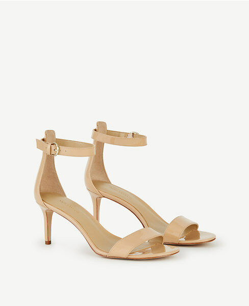 Ann Taylor Sz 8.5 Kaelyn Patent läder Strappy Sandals Taupe Beige NWT  128