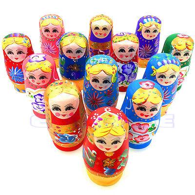 Hot 5 Pcs Dolls Wooden Russian Nesting Babushka Matryoshka Hand Painted Gift