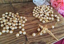 CRYSTAL PEARLS IVORY  COLOR WEDDING LASSO/LAZO DE BODA EN PERLAS BEIGE/gold TONE