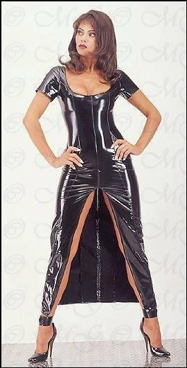 Umwerfendes glänzendes Lack Kleid mit Zip schwarz