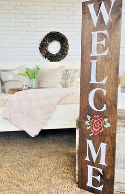 364ab52d41607 Welcome Flower Sign, Welcome Sign, Welcome Home Sign, Vertical Welcome Wood  Sign | eBay