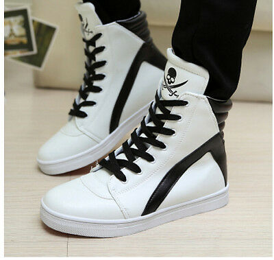 Men's high-top color stitching lace up casual shoes skull ankle boot sneakers
