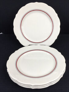 Syracuse-China-Set-Of-4-Scalloped-9-1-8-Plates-Red-And-Black-Stripes-USA