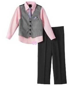 5e892c8e3a3 Details about NWT $50-Boys Van Heusen Holiday 4 Pc Pants, Vest, Tie & Pink  Dress Shirt Set- 4