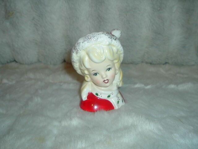 Vintage 1954 Inarco E1274 Christmas Lady Head Vase Holly Poinsettia