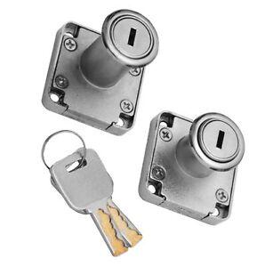 2 Schlüsse Cam Lock Silber Tür Möbel Schrank Brief Schublade Schrank Schlösser