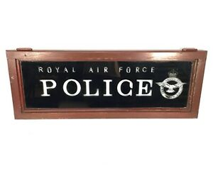 Antique Advertising - RAF Police (Royal Air Force) Salvaged Glass Window / Sign