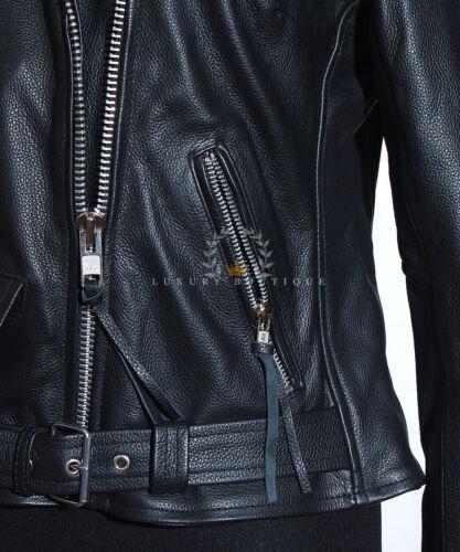 Donna Brando Donna Nero Nuovo Stile Biker Reale in cuoio in pelle giacca moda