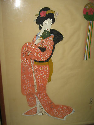VTG Hand Painted on Silk GEISHA w/ Fan JAPANESE ARTWORK Signed Painting in Frame