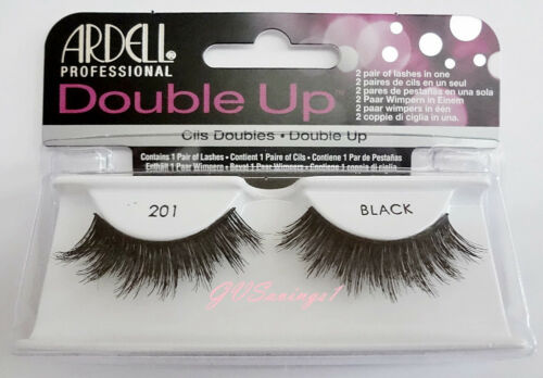 (LOT OF 10) Ardell DOUBLE UP LASHES #201 False Fake Eyelashes Black Thick Full