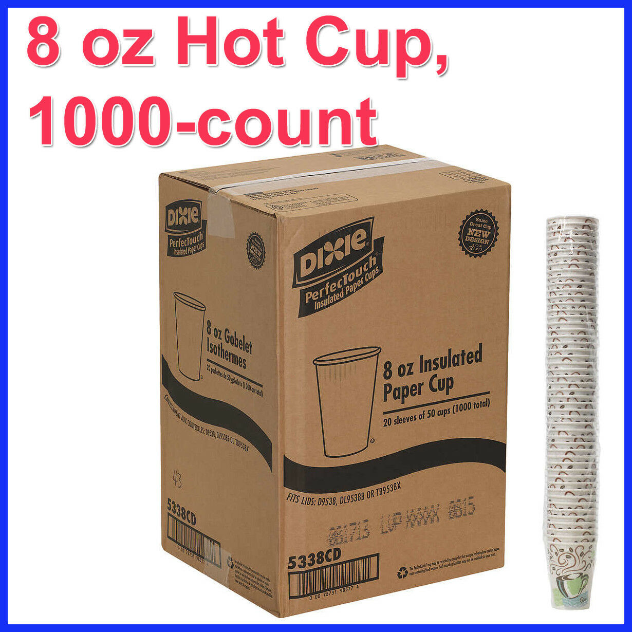 Dixie PerfecTouch 8 oz Hot Cup, 1000-count
