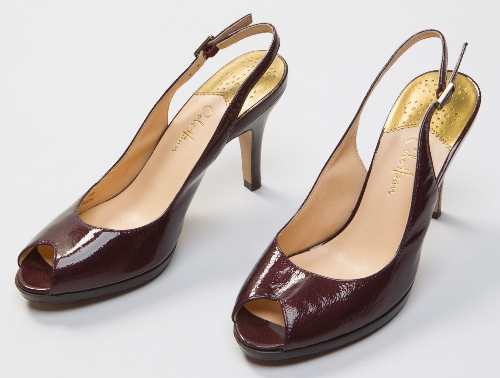 7d1428db7b9 Women s Cole Haan Red Brown Patent Leather Peep Toe Heels shoes Size Sz US  7.5 B
