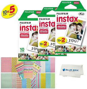 Fujifilm Instax Mini Instant Film -50 SHEETS- For Mini 8 & 9 Cameras + Stickers 718771295487