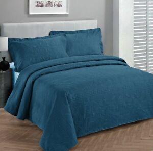 Fancy-Linen-Oversize-Luxury-Embossed-Bedspread-Solid-Blue-All-Sizes-New