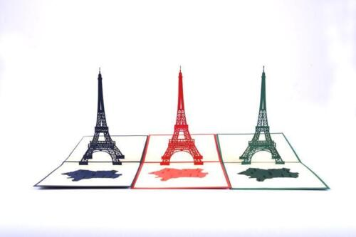 Holiday Birthday Origami Handcrafted Greeting Cards France Eiffel Tower gift OC3