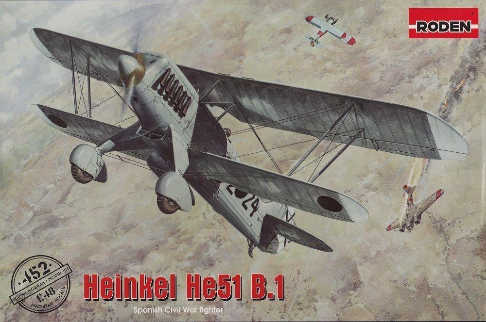 Roden Heinkel he51 b. 1 Spanish Civil War Kit Construcción Kit 1 48 Kit Art 452