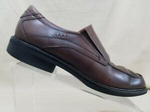 Details about ECCO Men's Brown Leather Slip On Loafers w SHOCK POINT Size US 99.5 EU 43