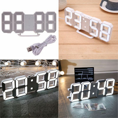 Remote Digit 3D LED Big Screen Wall Clock Alarm Countdown Timer 12/24 Hour GIFTS