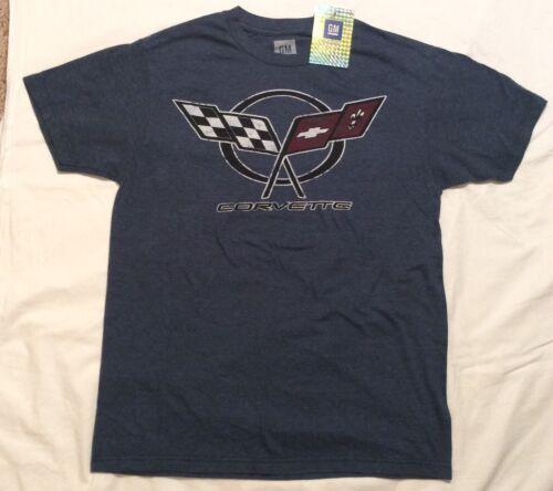 Genuine GM CORVETTE Racing Flags VINTAGE LOGO T-SHIRT Men/'s S M CHEVY Blue Gray