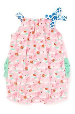 Matilda Jane GUMBALL BUBBLE 6-12 Months Flamingo Pink Baby Romper One-Piece NWT