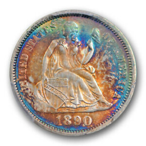 1890 10C Seated Liberty Dime PCGS MS 64 Uncirculated Monster Toned Colorful B...