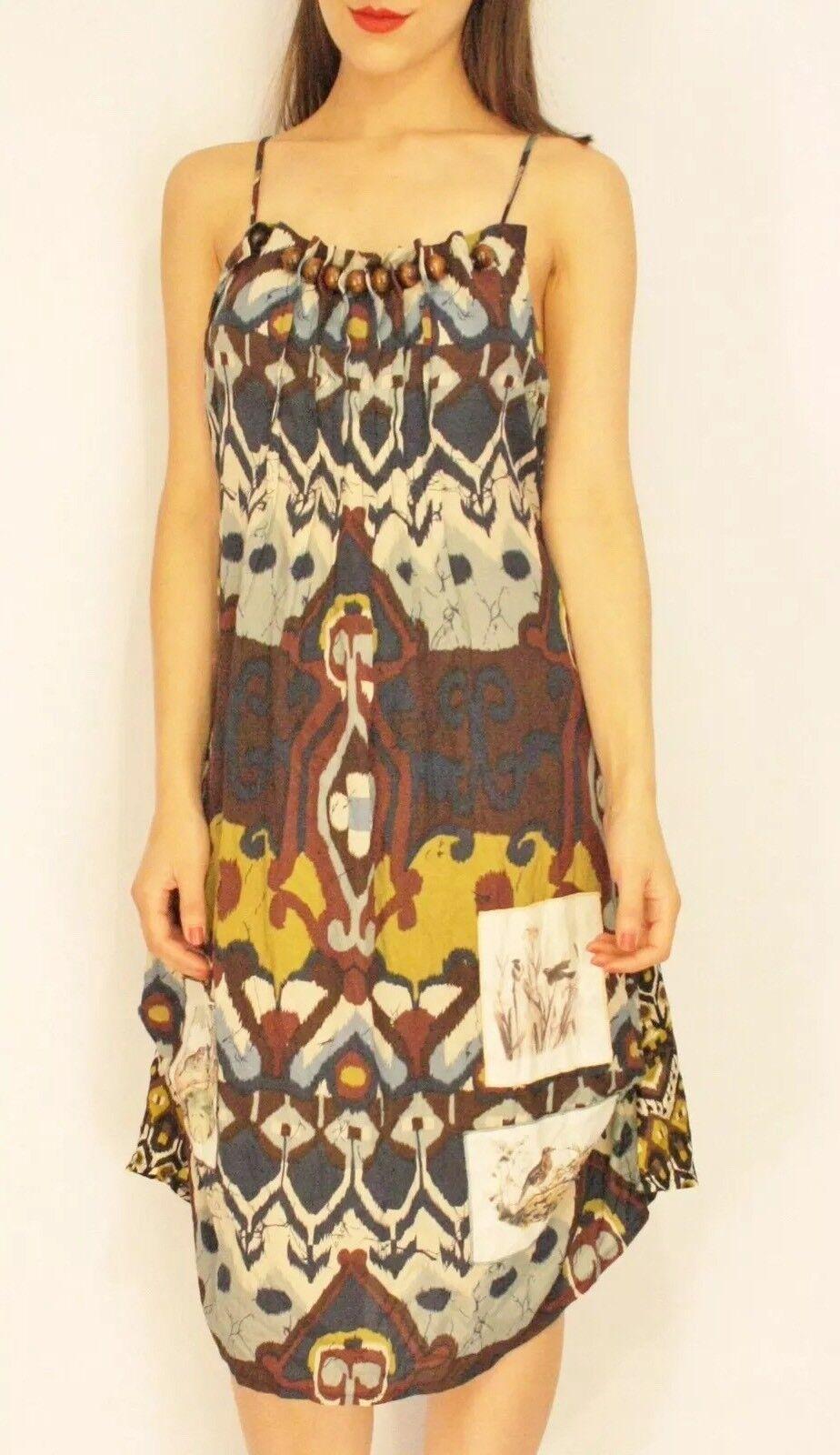 6547764753ca savingglory blue white red Silk Bird Dress France 12 US 8 Eu 40 Au Tribal  ntyxbb7256-Dresses