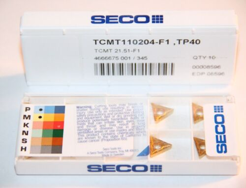 TCMT 21.51 F1 TP40 SECO *** 10 INSERTS *** FACTORY PACK ***