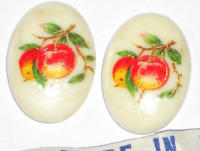 #1078d Vintage18x13mm Fruit Peaches Organic Peach Cabochons Yellow NOS Food