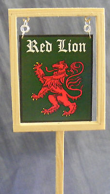 1:12 Scale The Red Lion Pub Sign tumdee Dolls House Miniature Bar Accessory