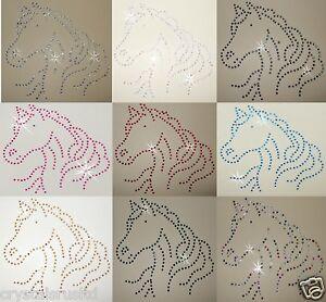 HORSE-HEAD-IRON-ON-RHINESTONE-CRYSTAL-BEAD-CUSTOM-BLING-TSHIRT-TRANSFER-PATCH