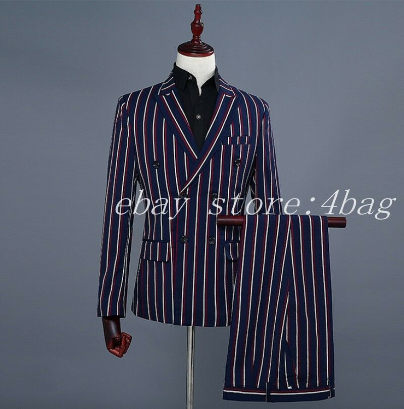 Men's DJ Double Breasted 2PCS Suits Coat Pants Stripe Blazers Wedding Clubwear