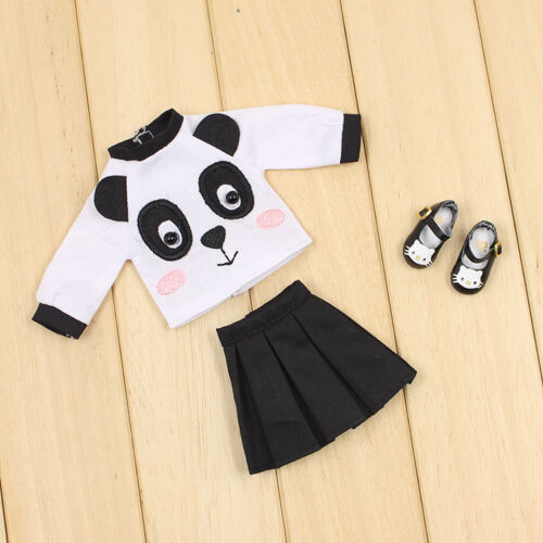 "3pcs The New Summer Panda Printed T-shirt And Skirt For 12/""Blythe Doll"